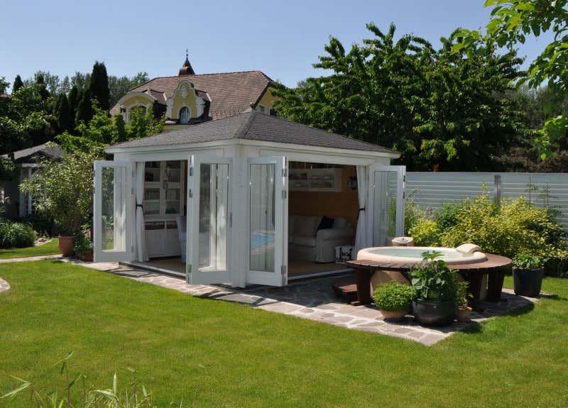 gartenhaus sunshine 40 mit gro er faltt r gartenhaus. Black Bedroom Furniture Sets. Home Design Ideas