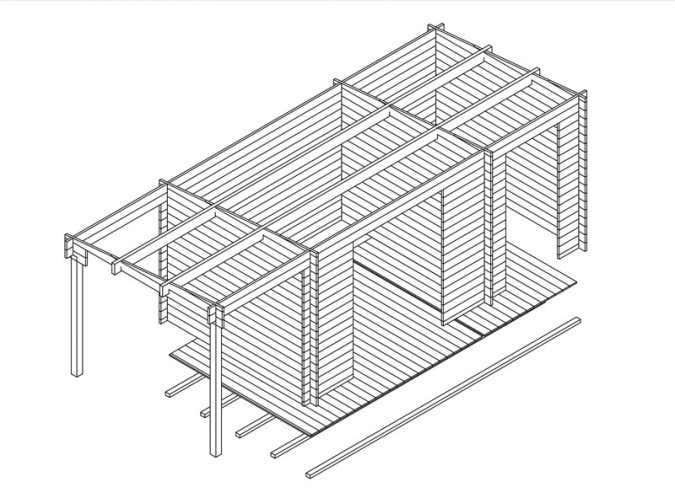 3D-Ansicht des Gartenhaus