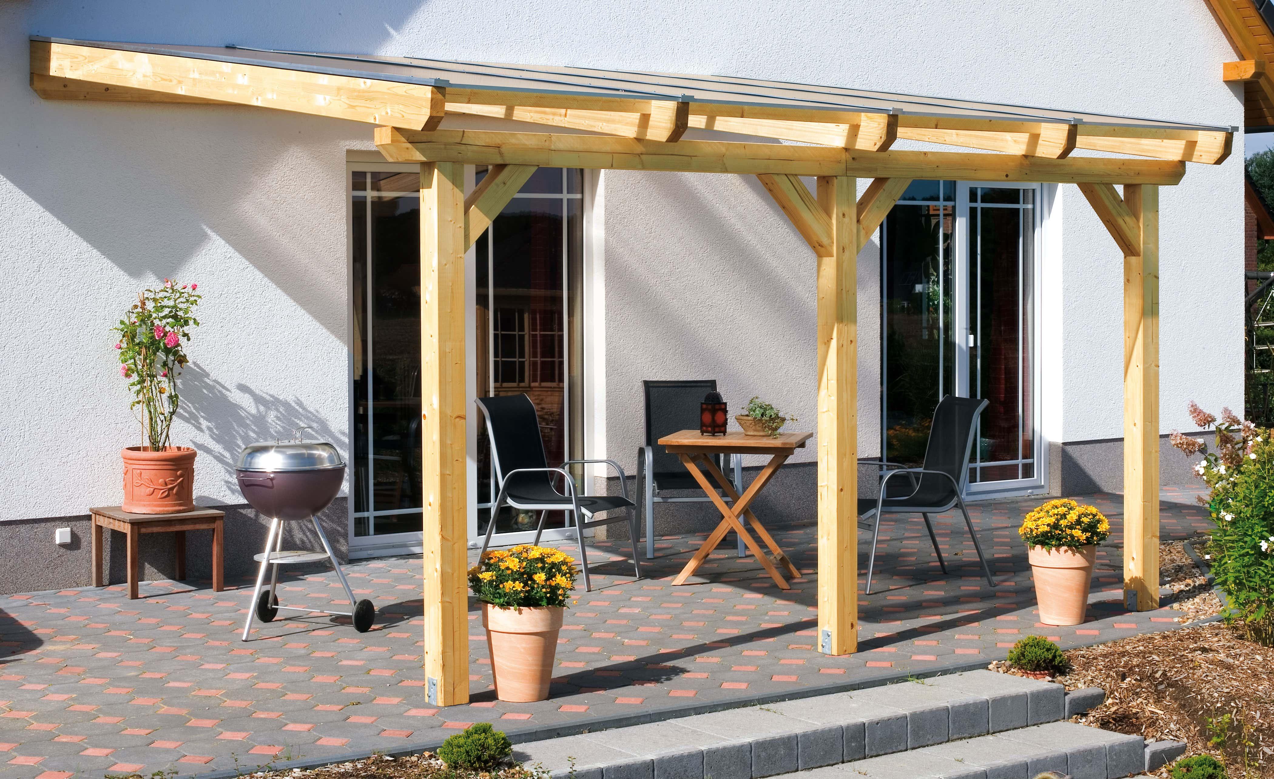 aufbau einer leimholz-terrassenüberdachung, Moderne