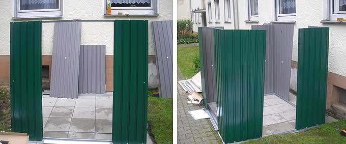 Metallgerätehaus: Wände aufstellen