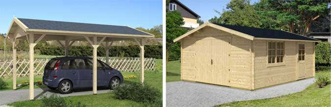 holzgaragen und carports aus holz die g nstigere alternative. Black Bedroom Furniture Sets. Home Design Ideas