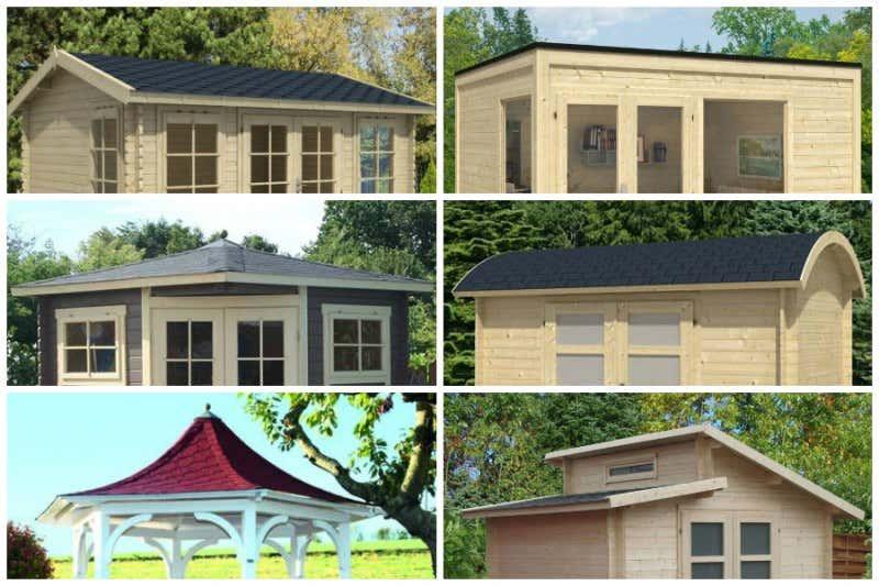 Verschiedene Dachformen von Gartenhäusern