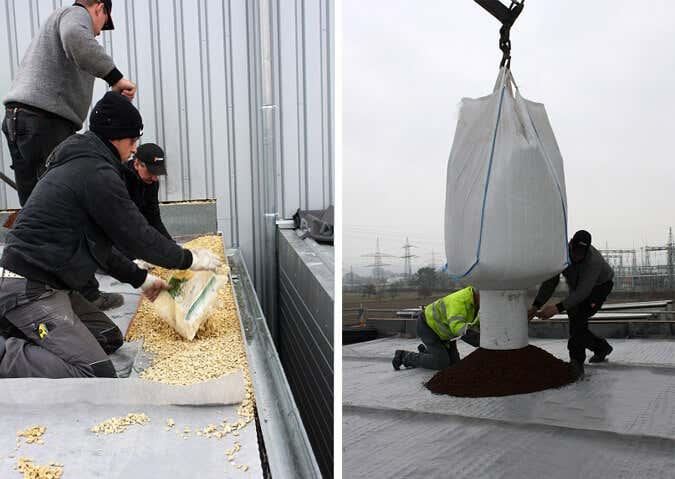 Kies und Substrat kommen aufs Dach