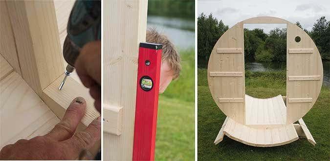 ein sauna fass aufbauen schritt f r schritt pictures to. Black Bedroom Furniture Sets. Home Design Ideas