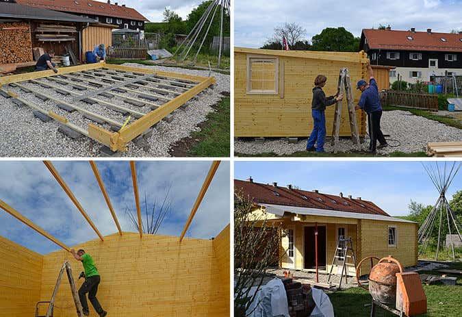Gartenhaus-Aufbau