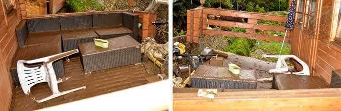 Zerstörte Einrichtung Gartenhaus
