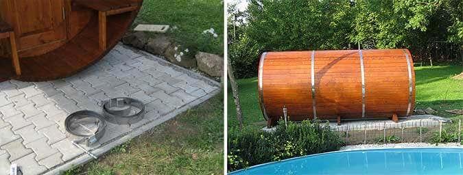 Spannbänder der Fass-Sauna