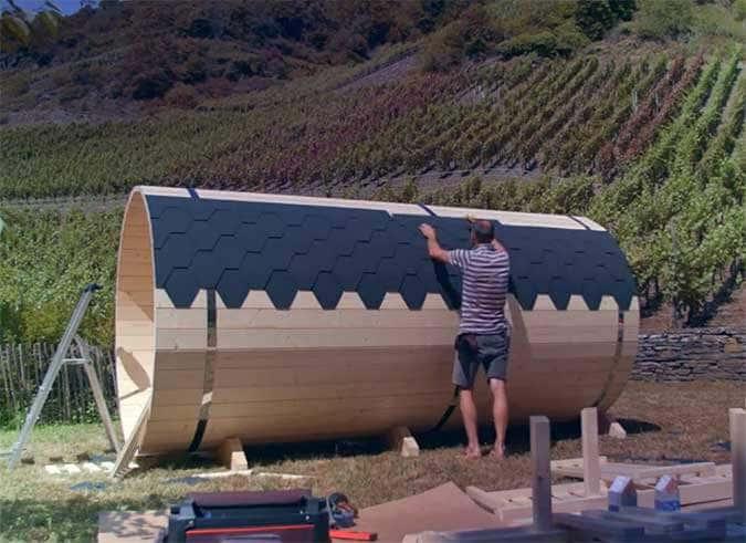 Dach-Schindeln der Fass-Sauna