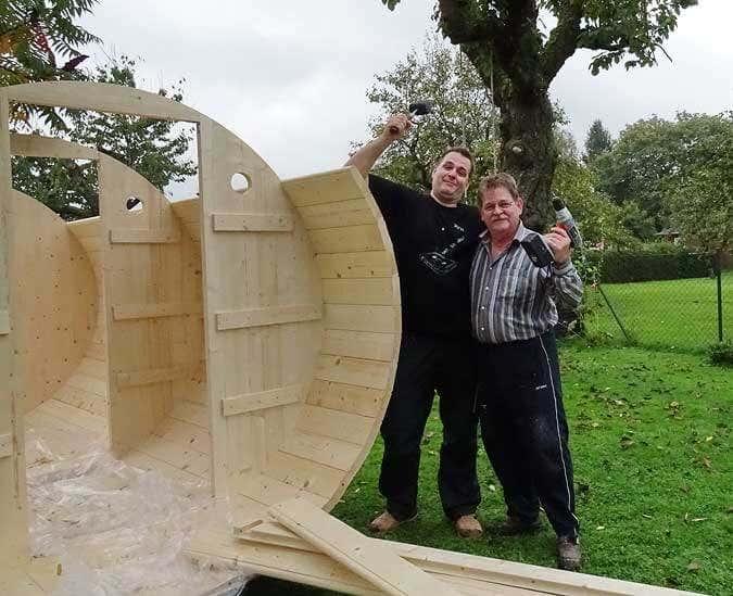 Fass-Sauna-Aufbau