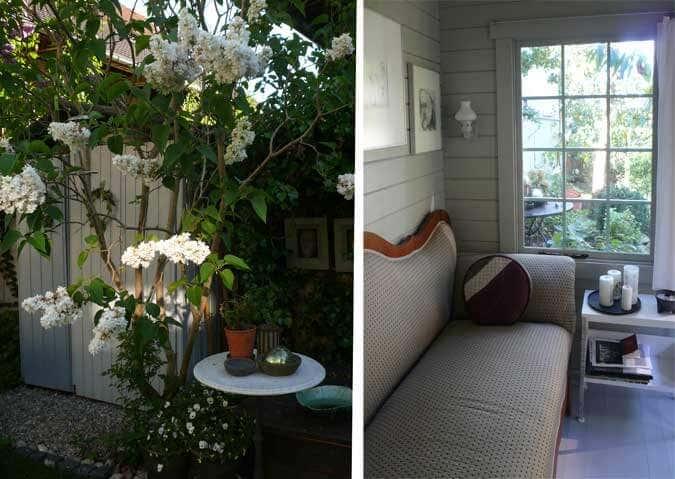 Blicke ins Gartenhaus und in den Garten