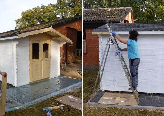 Gartenhaus wird gestrichen