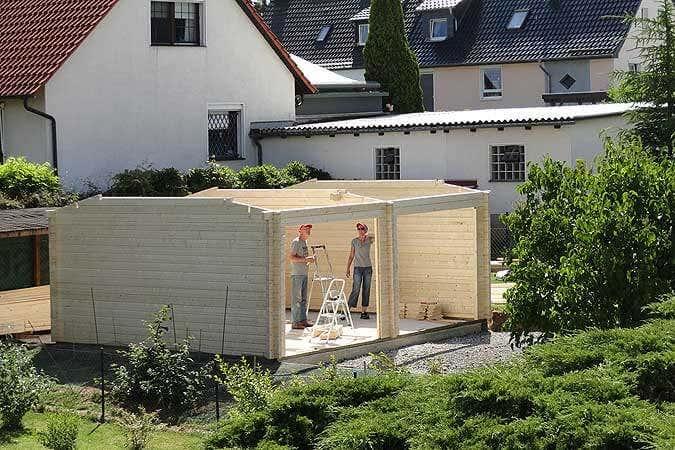 Holzgarage Aufbau