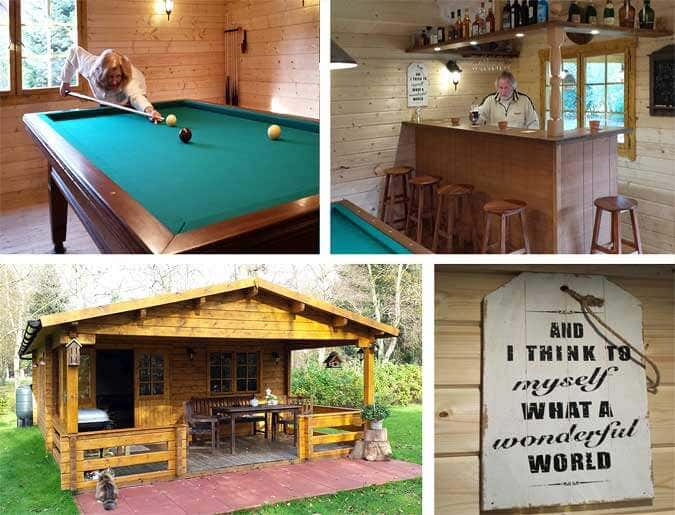 Ein Gartenhaus als Partyhaus - mit Billardtisch und Theke