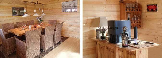 Gartenhaus - Inneneinrichtung mit Esstisch und Bar