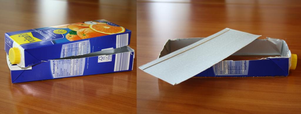 Tetrapak-Gewächshaus Schritt 1 und 2