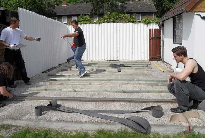 Fußboden Im Gartenhaus ~ Renovierung der gartenlaube teil fußboden mit verlegeplatten