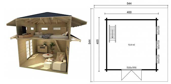 Ein Gartenhaus mit Schlafboden: Mehr Platz zum Übernachten