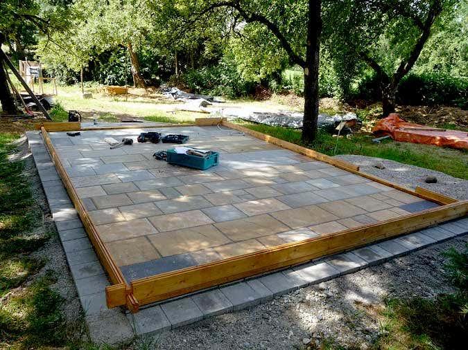 Holzgarage Aufbau - Basishölzer