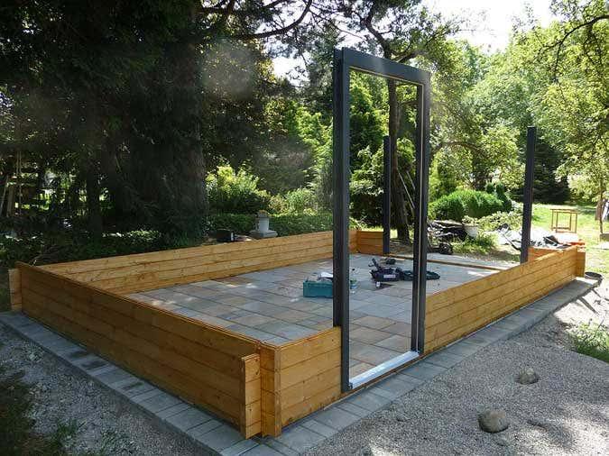 Holzgarage Aufbau der Waende