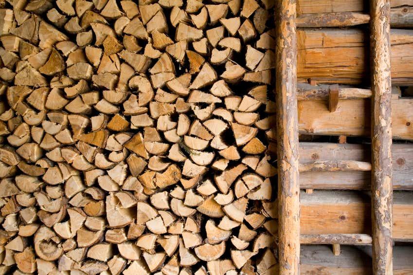 Das Feuerholz muss lange genug gelagert und getrocknet werden.