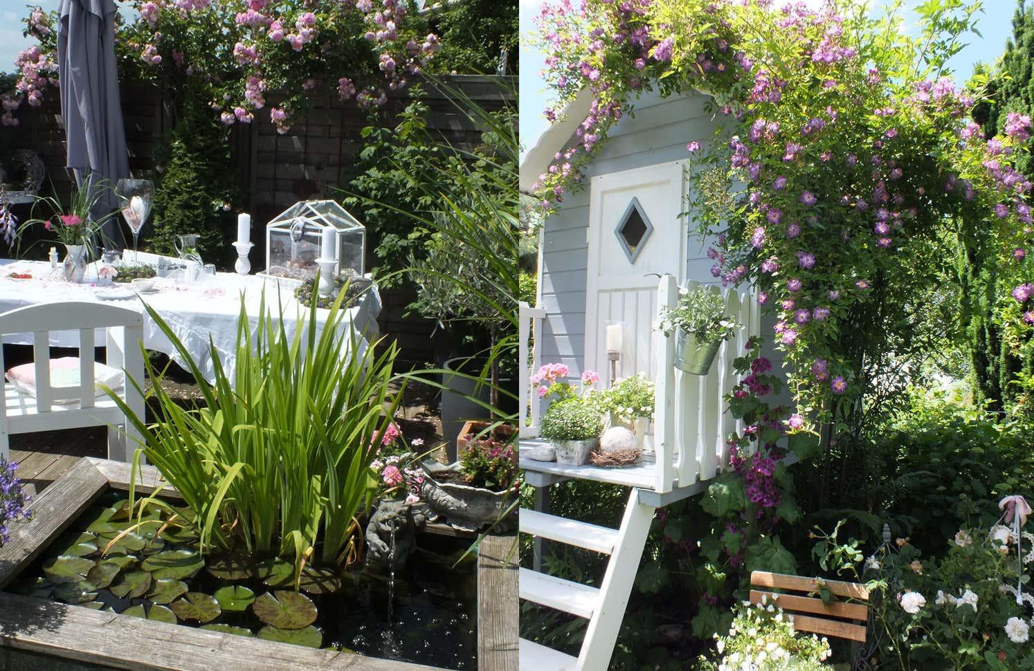 Die gemütliche Sitzecke und das Baumhäuschen sind ein echter Hingucker und würden auch perfekt in jeden Cottage-Garten passen.