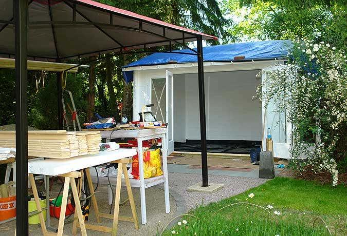 Gartenhaus Grundierung