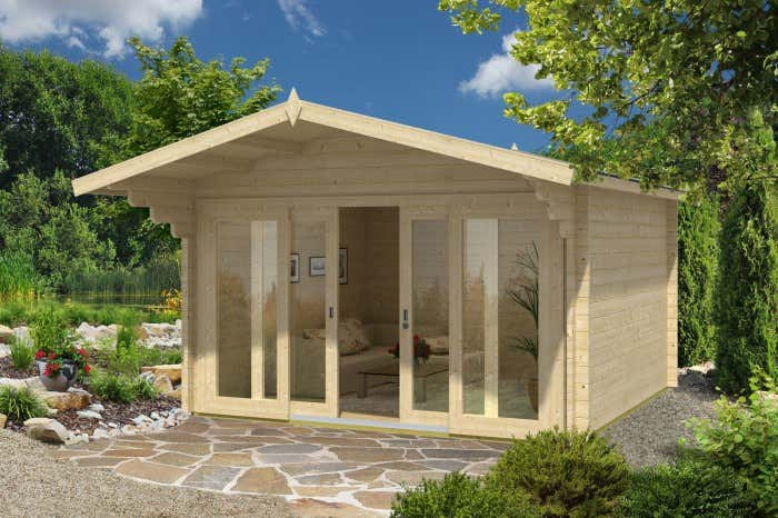 das gartenhaus mit vordach. Black Bedroom Furniture Sets. Home Design Ideas