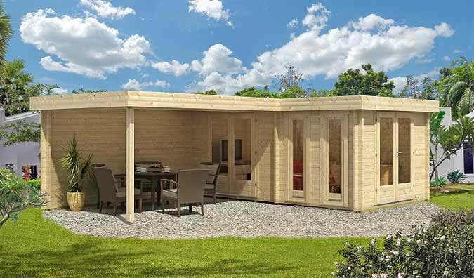 """""""über Eck"""" angelegt zeigen sich Hauptraum und Anbau-Terrasse ..."""
