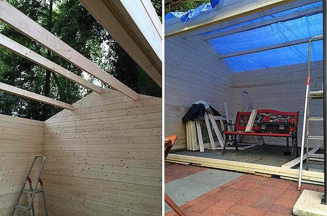 Gartenhausaufbau Dach