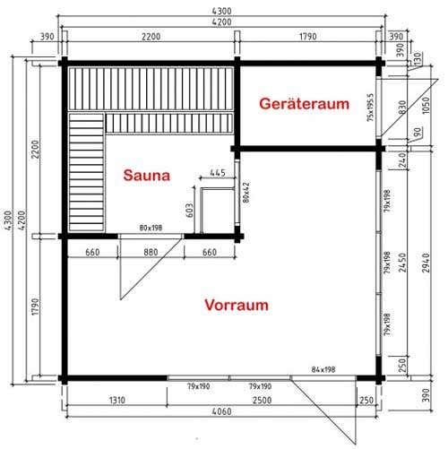 Grundriss Gartenhaus Cubus-70 E