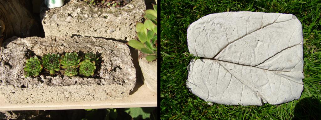 Trittplatte und Blumenbeet aus Beton