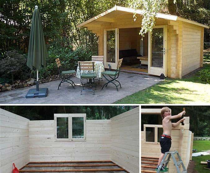 praxisbeispiel gartenhaus charlotte 70 mit faltt r und extra fenster. Black Bedroom Furniture Sets. Home Design Ideas