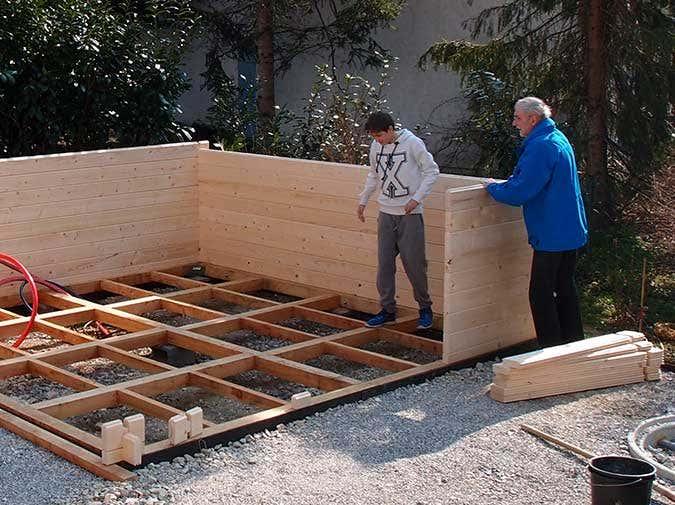 Gartensauna-Aufbau Wände