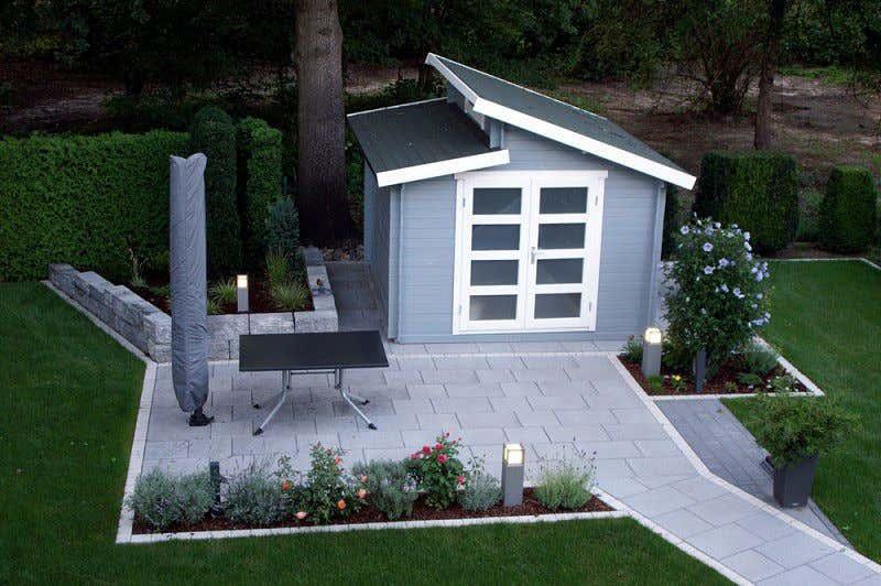 Gartenhaus taubenblau  Gartenhaus grau-weiß: moderner Gartentrend mit Stil