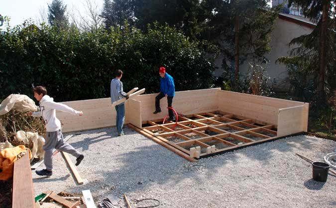Saunahaus-Aufbau erste Schritte