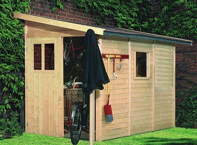 ein gartenhaus f rs fahrrad. Black Bedroom Furniture Sets. Home Design Ideas