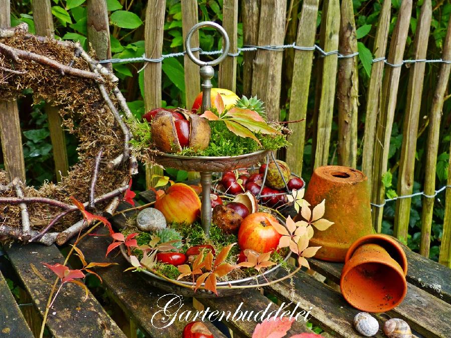 Herbstdeko ideen kreativ bunt den garten dekorieren - Dekorieren mit kastanien ...