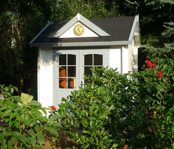 Gartenhaus grau wei moderner gartentrend mit stil - Gartenhaus clockhouse ...