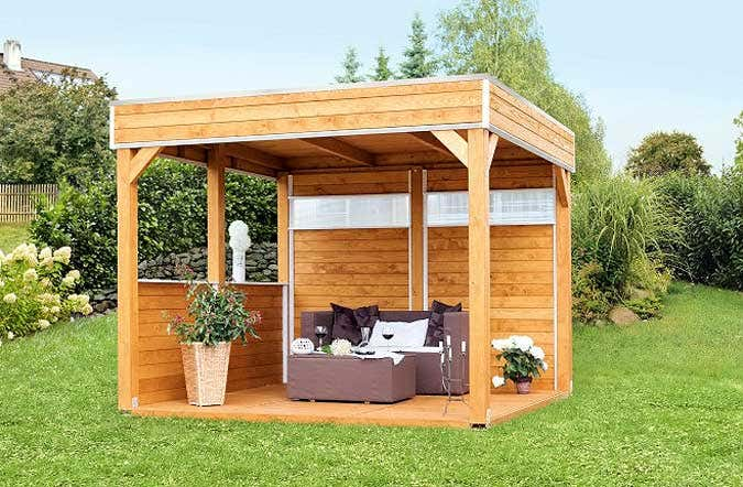 der gartenpavillon mit flachdach. Black Bedroom Furniture Sets. Home Design Ideas