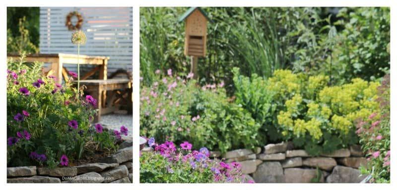 Gartenbeete mit Steineinfassung
