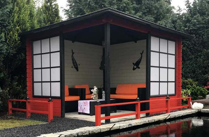 das gartenhaus im japanischen stil. Black Bedroom Furniture Sets. Home Design Ideas