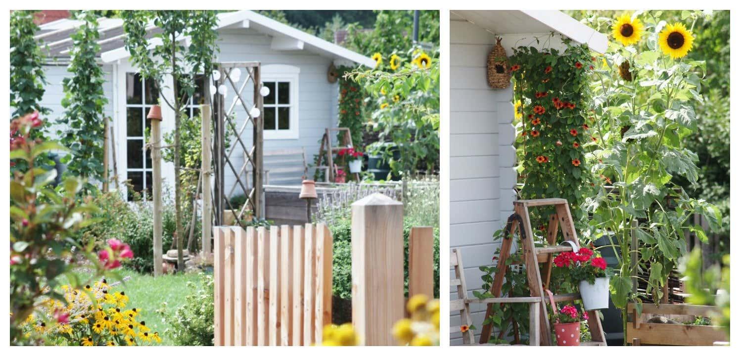Karibu Gartenhaus in hellgrau-weißem Anstrich