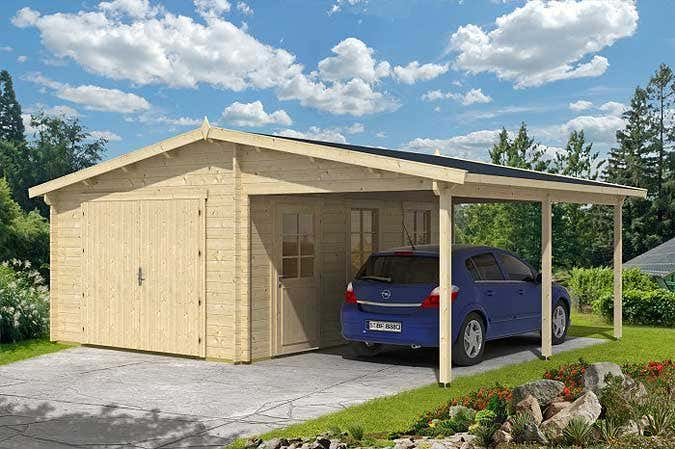 die holzgarage mit carport. Black Bedroom Furniture Sets. Home Design Ideas