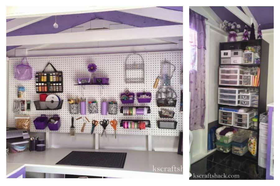 Stecktafeln und ein Bücherregal sorgen für Ordnung in dem Craft Shack.