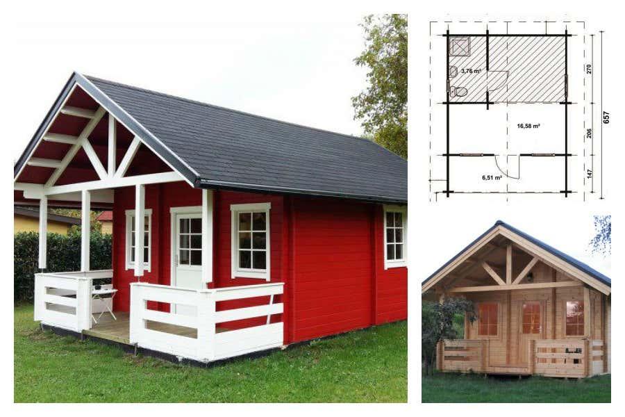 Garten- und Freizeithaus Lillehammer-70 ISO mit Terrasse – Platz für Wohnraum und Badezimmer.