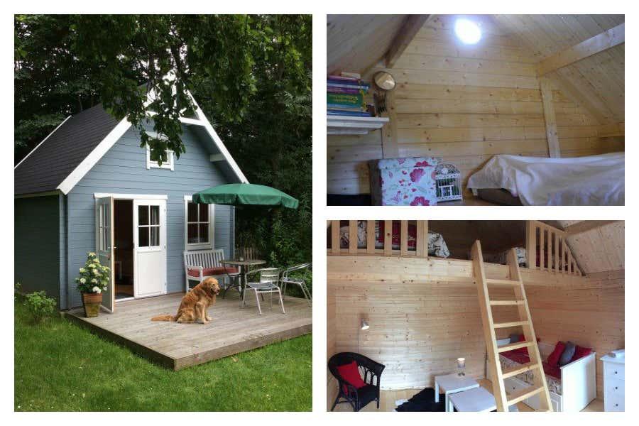Das Schwedenhaus 44 ISO mit Schlafboden – perfekt für kleine Gärten geeignet.