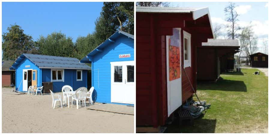 """Blau oder rot? Die Surfcamp-Gäste haben die Qual der Wahl. Denn in den """"Wanderhütten sowie den größeren Blockhütten ist es gleichermaßen bequem und gemütlich."""