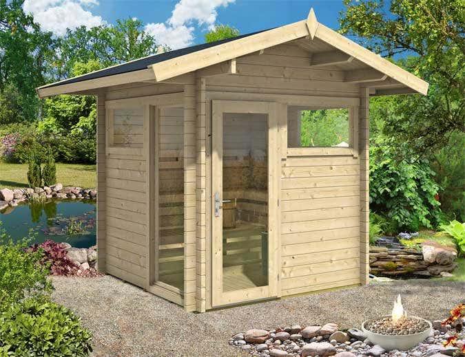 ein saunahaus im garten die kleinsten saunen 2016. Black Bedroom Furniture Sets. Home Design Ideas