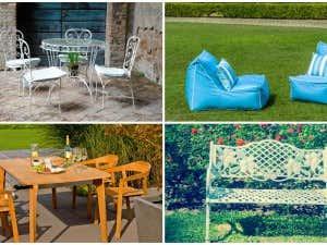 Collage aus Gartenmöbeln