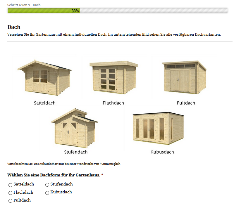 Gartenhaus Konfigurator: 9 Schritte zum Gartenhaus nach Maß